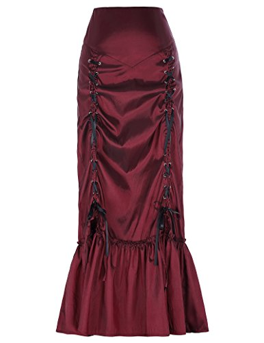 [Women's Vintage Victorian Gothic Steampunk Costume Long Cocktail Skirts Burgundy Size L] (Ruffle Skirt Costumes)
