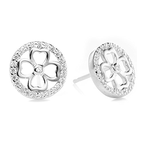 - Stud Earrings - White Pave Crystals, Solid 925 Sterling Silver (Four Leaf Lucky Clover)