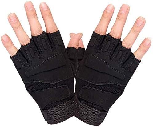 Mini gloves ハーフフィンガーグローブ、メンズスポーツアウトドアフィットネス登山アンチスキッド乗馬タクティクス (Color : Black, Size : M)