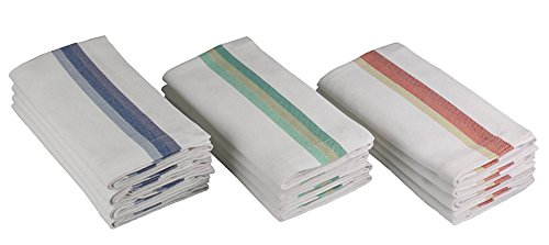 Cotton Craft - Twill Stripe Dinner Napkins - 12 Pack - 100% Cotton - Tailored with Mitered corners by Cotton Craft