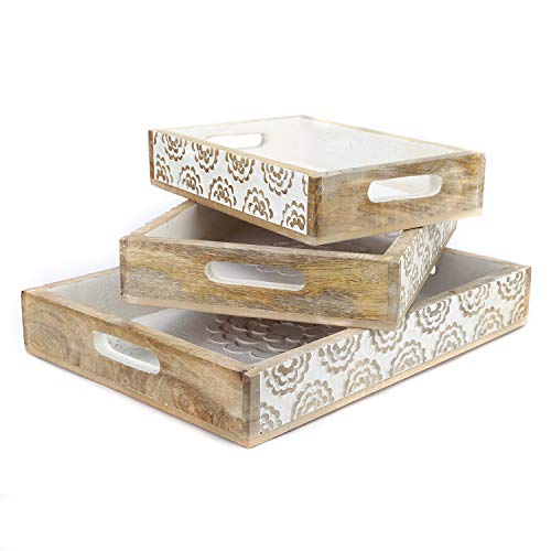 Rustic Wood Tray set of 3 torched nesting hand carved set white flowers ()
