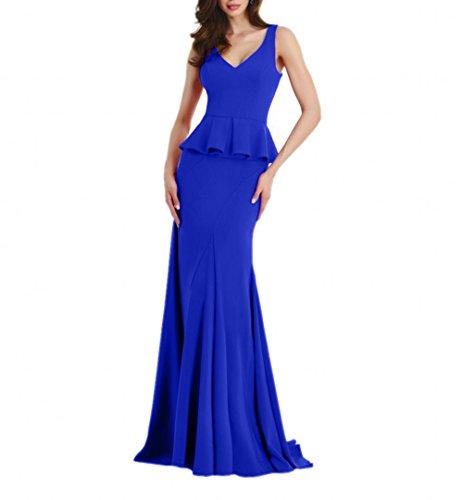 Kleider Jugendweihe Chiffon Charmant Damen Brautmutterkleider Abendkleider Lang Etuikleider Blau Royal Ballkleider qBwfw