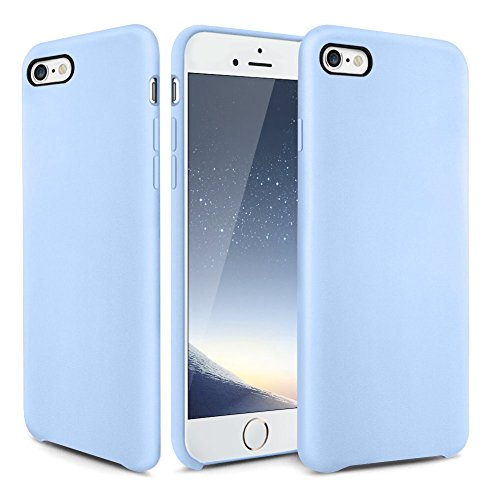 iPhone 6s Case, OCYCLONE [Ultra-Thin Series] Liquid Silicone iPhone 6 6s Case Rubber Shockproof with Soft Microfiber Cloth Cushion Blue Slim Fit For Apple iPhone 6 6s Protective Case - Light Blue ()