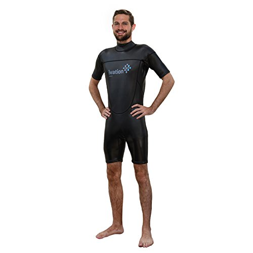 - Ivation 3mm Wind-Resistant Short Wetsuit for Men - Crafted of Premium Flexible Neoprene with Flatlock Construction Black Medium