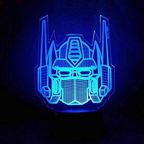 Amroe 3D Night Light Character Boy Gift Transformers Illusion Desk Table Led Night Light Colorful Lamparas Lamp Child KidsHoliday Xmas Party Decor (Transformers Decor Room)