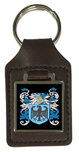 Clithero Family Crest Surname Coat Of Arms Brown Leather Keyring Engraved ()