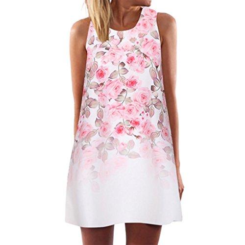 AIEason Vintage Boho Women Summer Sleeveless Beach Printed Short Mini Dress