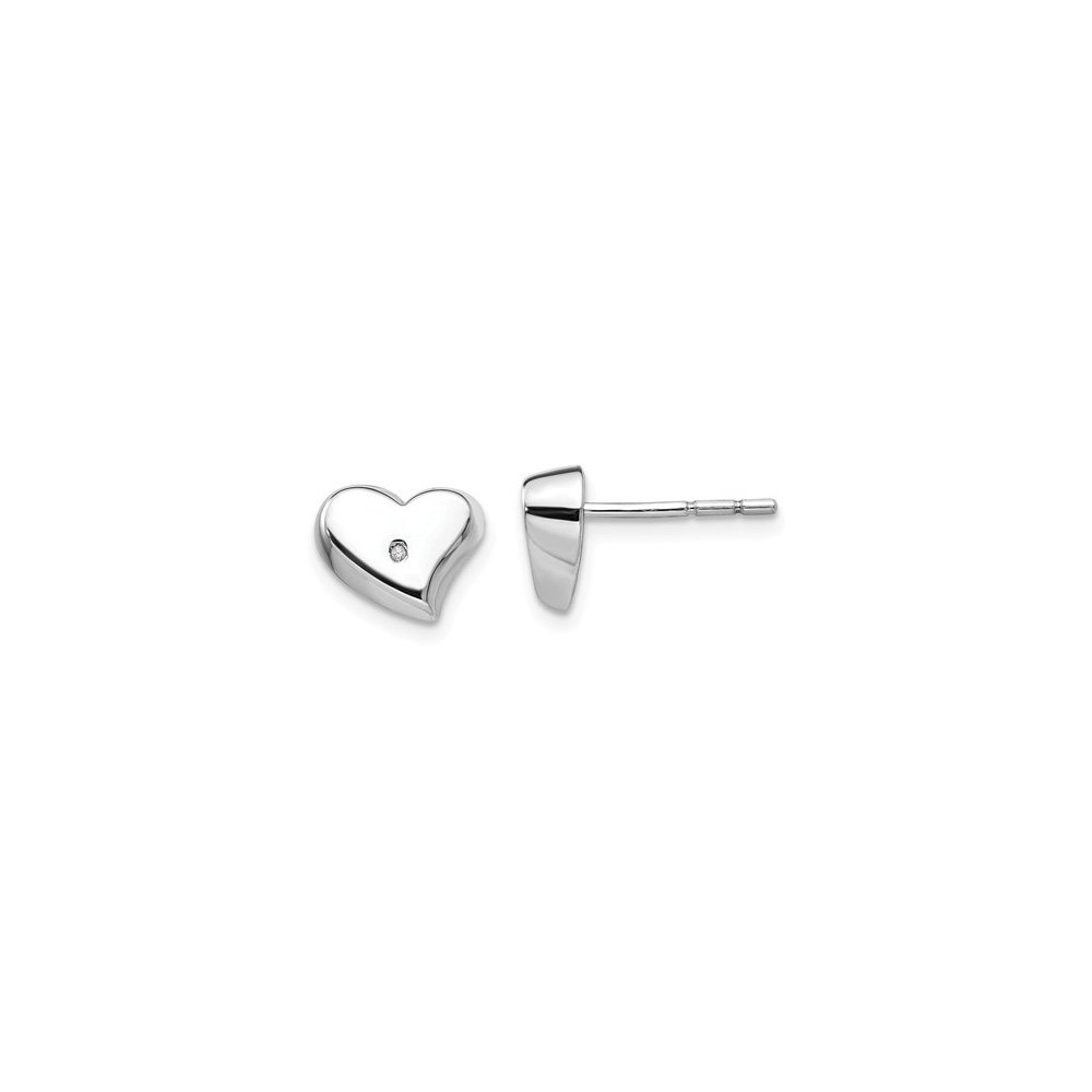 Sterling Silver White Ice Diamond Heart Earrings
