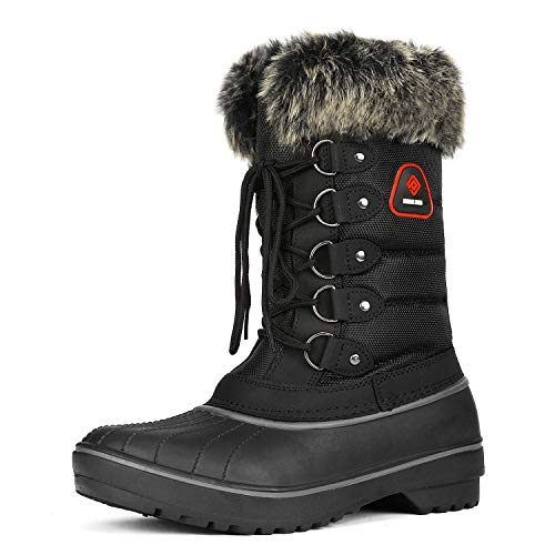 DREAM PAIRS Women's DP-Canada Black Faux Fur Lined Mid Calf Winter Snow Boots Size 12 M US