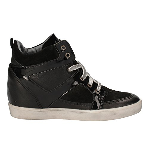KEYS Sneakers Donna Nero Pelle Camoscio Vernice AE597