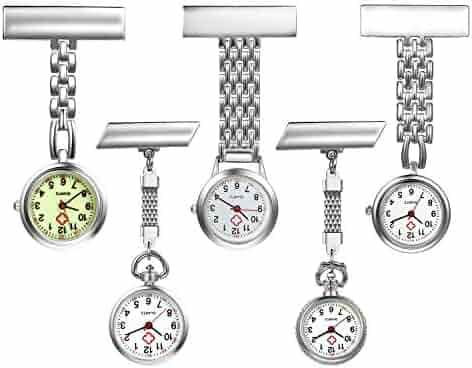 Women's Nurse Watch Simple Classic Unisex Doctor Paramedic Tunic Lapel Pin-on Brooch Fob Quartz Watch Large Arabic Numeral Mark - 5 Pack
