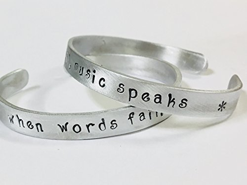 When Words Fail, Music Speaks - Music, Musician, Band Member, Orchestra Member, Musical Theatre Quote, handstamped on a non tarnish aluminum cuff bracelet