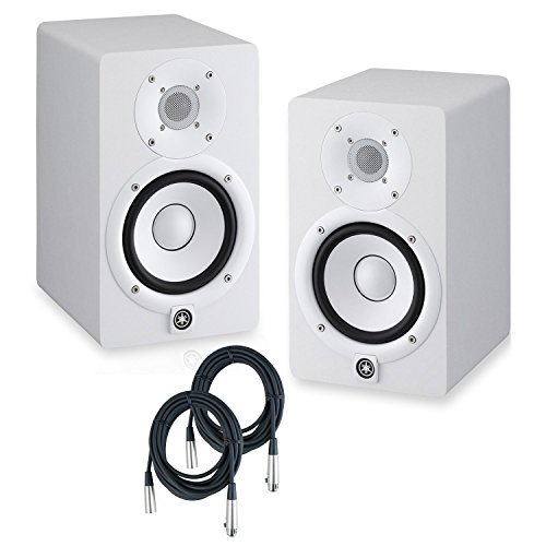 Yamaha HS8 Powered Studio Monitors Pair White w/ Strukture PRO20M7 XLR Cables 20 feet - Bundle