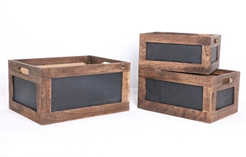 Set of 3 Wood crates with Chalkboard by Kaite Design