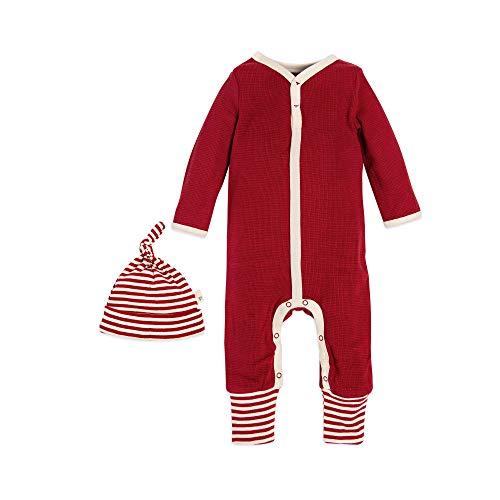 (Burt's Bees Baby - Unisex Baby Romper and Hat Set, One Piece Jumpsuit and Beanie Set, 100% Organic Cotton, Cranberry Candy Cane Stripes, 18)