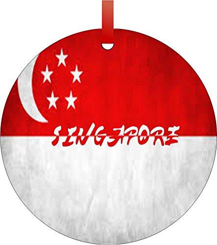 singapore flag double sided round shaped flat aluminum christmas