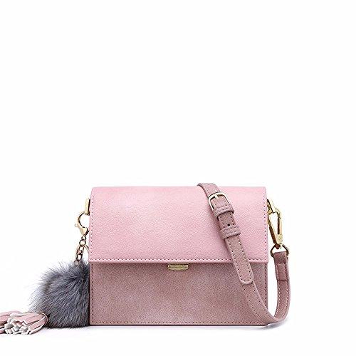 2018 nuevo tipo de Wild bolsa skew spanning, correa para el hombro de ancho cuadrado pequeño bolso, bolso de moda de las mujeres,Wathet Pink