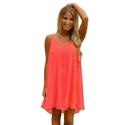 Neartime Women's Dress, Spaghetti Strap Thin Chiffon Short Dress For Summer (S, Orange)
