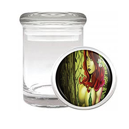 """Medical Glass Stash Jar Bad Girls Pin Up Girl S20 Air Tight Lid 3"""" x 2"""" Small Storage Herbs & Spices"""