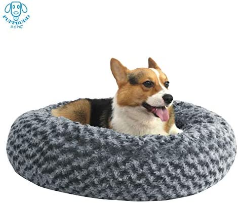 PUPPBUDD Donut Dog Bed Cat Bed, Faux Fur Pet Bed Self-Warming Donut Cuddler, Round Comfortable Rose Swirl Short Plush Beds with Removable Washable Cover for Medium Small Dogs and Cats 23 30