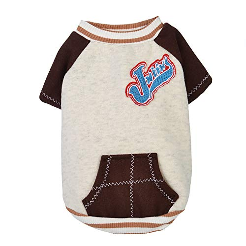 - JYS365 Fashion Short Sleeve Cotton Embroidery Dog Cat Soft Warm Puppy Pullover Winter Pet Clothes Chocolate M