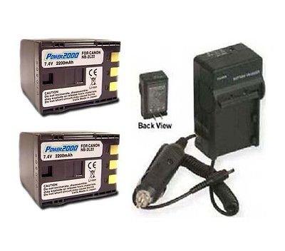 2つ2バッテリー+充電器for Canon md245、Canon md255、Canon md265、Canon mv790、Canon mv800、Canon mv800i、Canon mv830 B01DD48K06