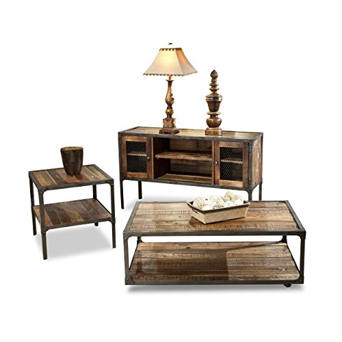 Emerald Home Medium Brown Sofa Table with Solid Wood Top, Two Cabinets, and Open Center Shelving by Emerald Home (Image #3)