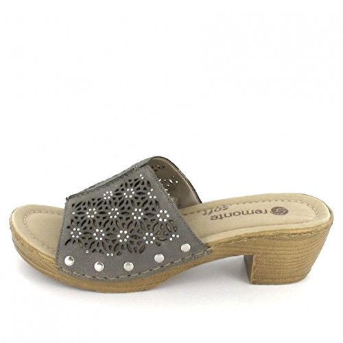 Remonte Mujeres Zapatos abiertos gris, (staub) D6951-42 plata