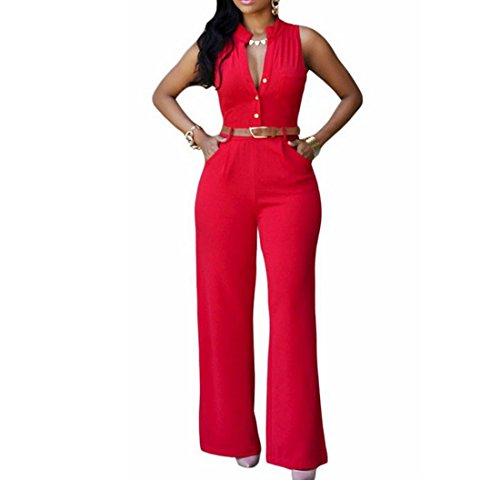 ホイストポンド批判女性のノースリーブVネックボタンダウントップワイドレッグジャンプスーツロンパース (Color : Rose red, サイズ : XXL)