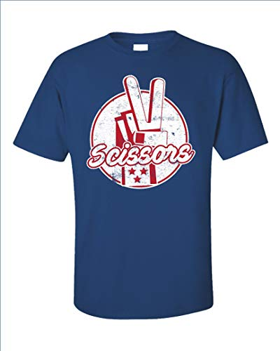 Scissor Rock Paper Scissors Design Matching Halloween Costumes - Unisex T-Shirt Royal Blue ()