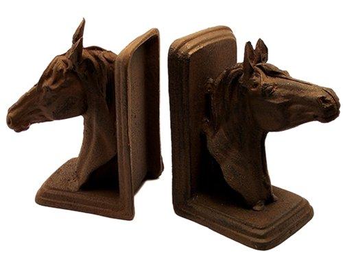 Iwgac Home Decorative Cast Iron Rust Horse Head (Cast Iron Horse Bookend)