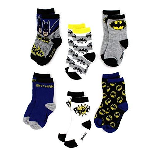 DC Comics Batman Toddler 6 pack Crew Socks (2T/3T  Batman Pow!)