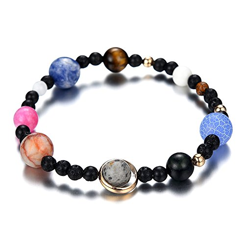 MENGLINA Women Men Solar System Nine Planets Bracelet Universe Stars Galaxy Natural Lava Stones Beaded Oil Diffuser Stretch Bracelets