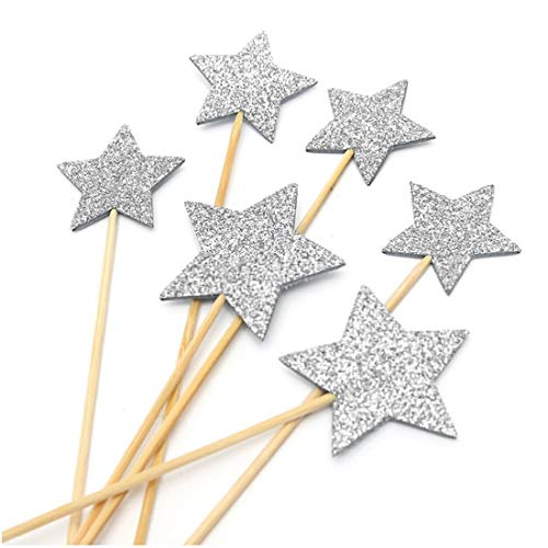 Cake Decorating Supplies - Baby Cupcake Flags Picks Birthday Party Decor Star - Frozen 10 Piping 116 Toppers Pj Stand Kit-100 Trees Bakery ()