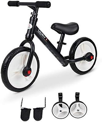 Bicicleta infantil con ruedas y pedales desmontables y ruedas de 11 pulgadas, altura del sillín ajustable de acero negro Negro Talla:85x36x54cm: Amazon.es: Deportes y aire libre