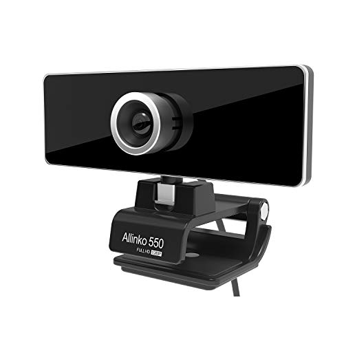 Allinko 550 Webcam 1080P Full HD, USB Web Camera with Microphone Compatible with Windows 10 8 7 XP Mac OS X, Skype Webcams for Laptop PC iMac MacBook Pro, Plug and Play Webcams (Web Camera 1080)