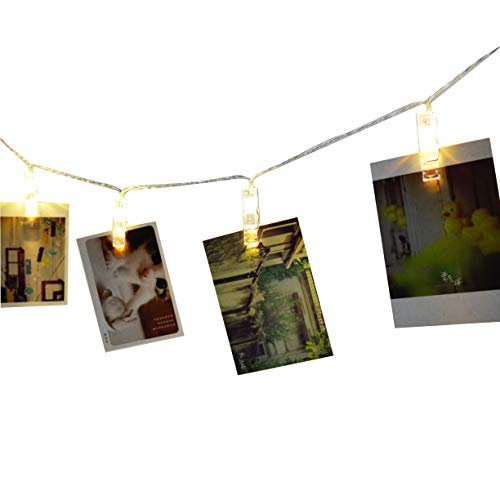 Alyattes Photo Clips String Lights Christmas Lights Starry Light Wall Decoration Light for Hanging Photos Paintings Pictures Card and Memos, Battery Powered (40 LED Warm White) by Alyattes