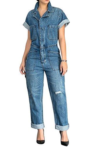 Hestenve Women Short Sleeve Loose Fit Denim Jumpsuits Buttons Up Pockets Jean Romper Overalls (Denim Coverall)