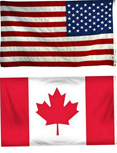 (Hebel 12x18 12x18 Wholesale Combo USA American Canada Canadian Flag Grommets   Model FLG - 1561)