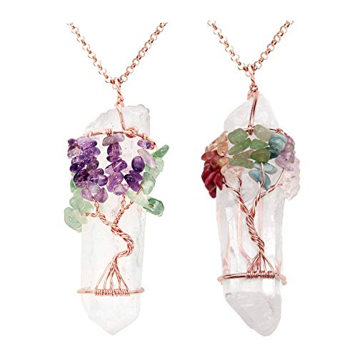 PESOENTH 2pc Vintage 7 Chakra Tree of Life Wire Wrapped Tumbled Gemstones Healing Crystal Quartz Points Pendants Necklace for Women Girls