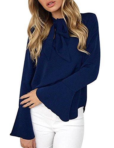 Femme Chic Manches de Mousseline Chemise Fluide Bowknot Bleu Col Chemiser Casual lgant Blouse Top Longue V Soie dAgSn1wnvq
