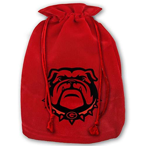 Hweoweek Bags Santa Sack with Drawstring, Georgia Bulldogs Reusable Fabric Present Wrapping Bag