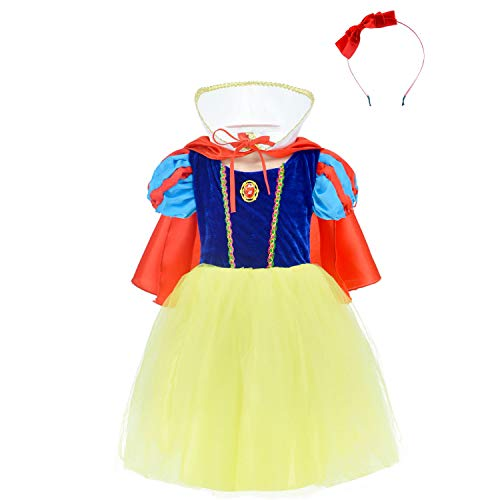 TiiMi Party Princess Snow White Costume for Girls Dress Up with Accessories 2-12 Years
