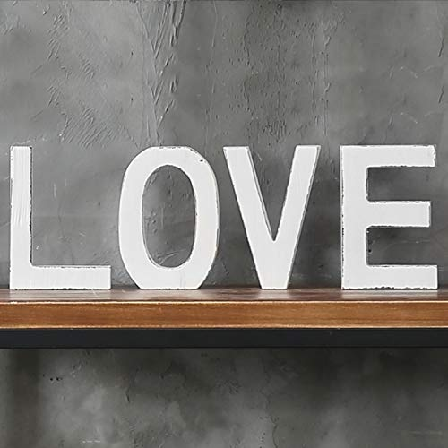 MyGift Vintage White Wood Block Love Cutout Letters, Standing Decorative -