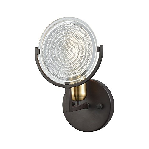 Elk 1 Light Vanity (Elk Lighting 14500/1 Ocular - One Light Bath Vanity, Oil Rubbed Bronze/Satin Brass Finish with Clear Railroad Glass)