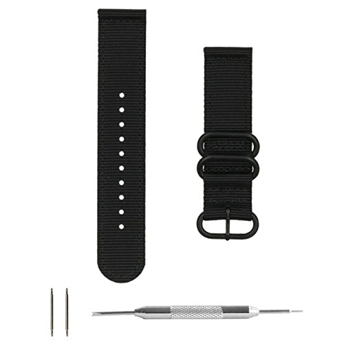Benchmark Straps 22mm Black PVD Ballistic Nylon 2-Piece Zulu Watchband + Spring Bar Removal Tool