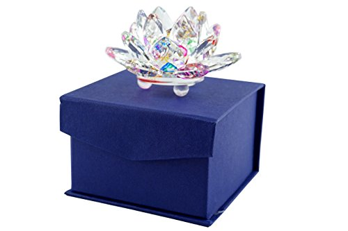 Mstechcorp High Quality Sapphire Sparkle Crystal 3 inch Decorative Clear Reflection Lotus Flower For Feng Shui Home Decor with Gift Box (Rainbow)