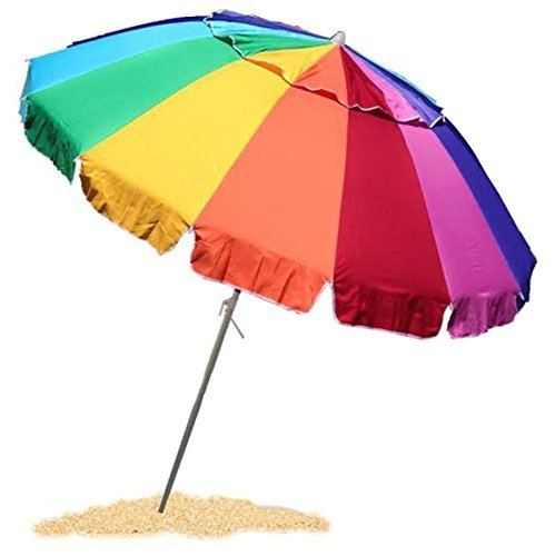 EasyGo Beach Umbrella - Giant 8' Rainbow Beach Umbrella Heavy Duty Design Includes Sand Anchor & Carry (Windy Umbrella)