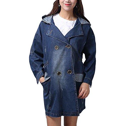 Manbozix Damen Denim Trenchcoat Jeansjacke Hoodie Mantel Oversized Outerwear Jacket Blau
