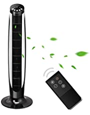 Aigostar Eiffel 33LRG – Black Oscillating Tower Fan with Remote Control and 3-Speed 3-Wind Mode, 8 Hours Timer with Auto Turn-Off, 45W, 70°Oscillation, 36 Inch, Long 1.8 m Cable.